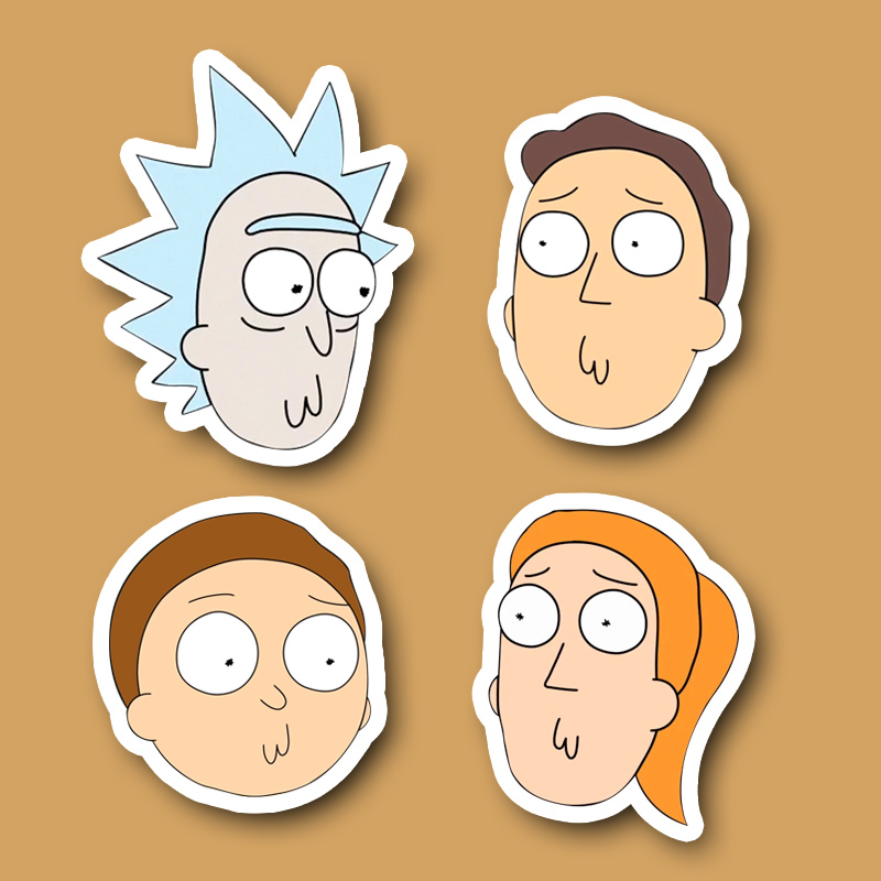 4pcs lot rick and morty Cute face Notebook refrigerator skateboard trolley case backpack Tables book PVC