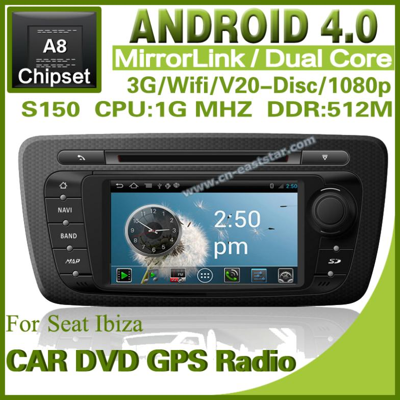 pure android 4 0 car dvd for seat ibiza with gps radio bluetooth car kit tv usb wifi 3g free. Black Bedroom Furniture Sets. Home Design Ideas