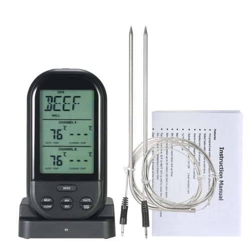 TS-K32 Wireless Double Probe Digital Food Thermometer Electronic BBQ  Grilling Household Kitchen Temperature Meter