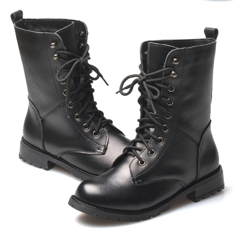 Womens Black Lace Up Boots - Cr Boot