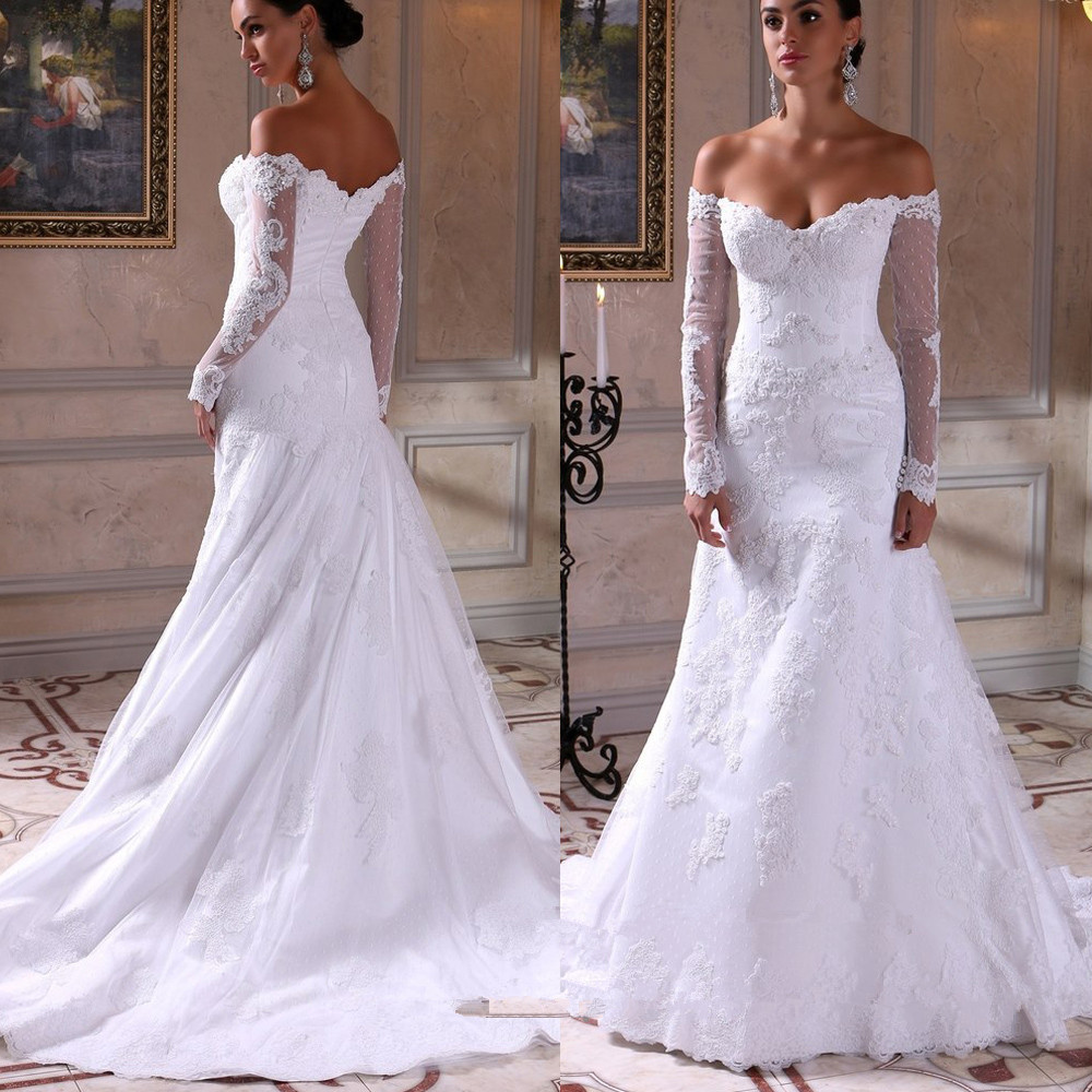 Mermaid Lace Wedding Gown: 2016 Sexy Lace Wedding Mermaid Dress With Long Sleeve