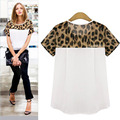 Woman blouses Summer Chiffon clothing Leopard Print Patchwork Top Feminina Round Neck Short Sleeve Casual Clothing