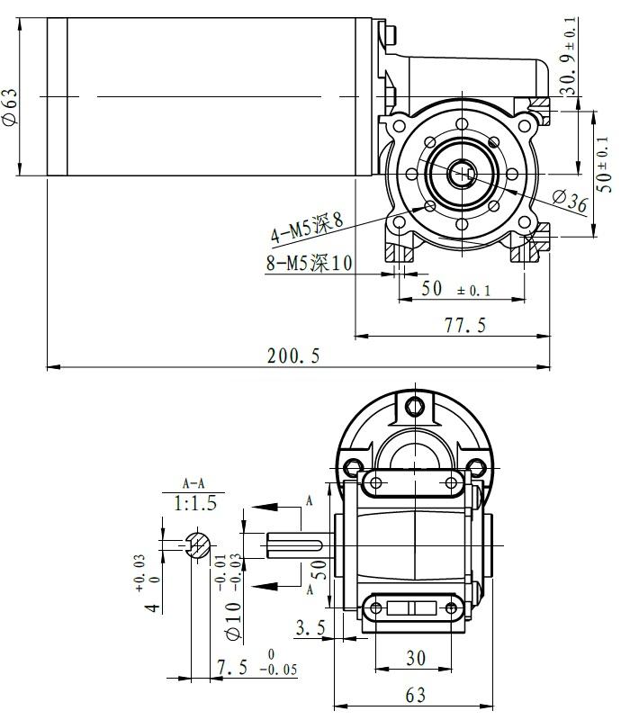 90 Grau Sortie Dc Motor Ducteur 63wjs Diameter63mm 90