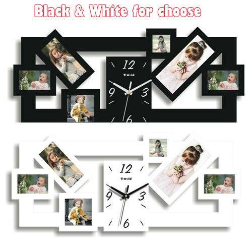 1 pcs bricolage cadre photo horloge et horloge murale design moderne et home decor horloge. Black Bedroom Furniture Sets. Home Design Ideas