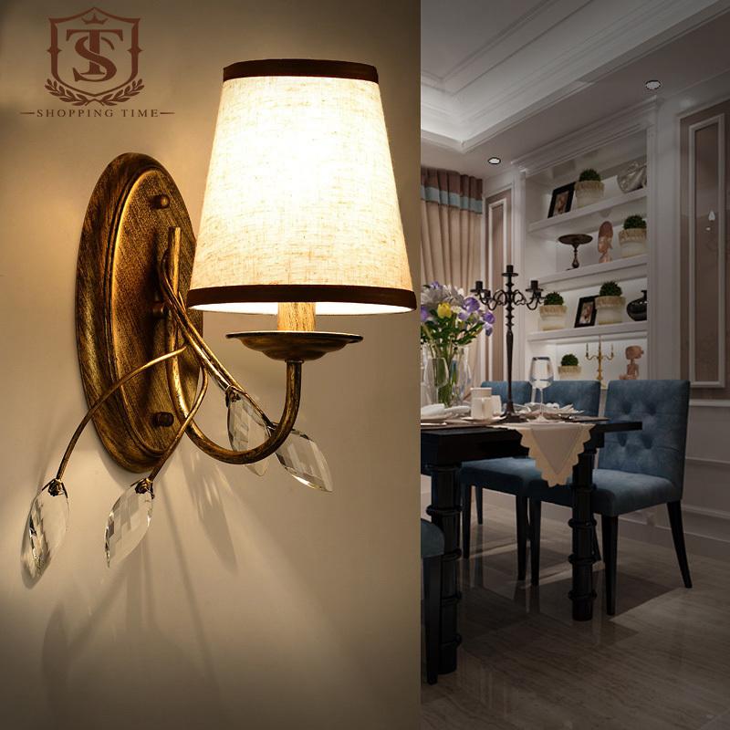 Vintage Iron Wall Lamp 220V Fabric Lamp Shade Wall Lights
