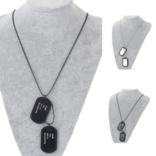 1pc Military Army Style Black 2 Dog Tags Chain Mens Pendant Necklace W/Tracking Jewelry Accessories
