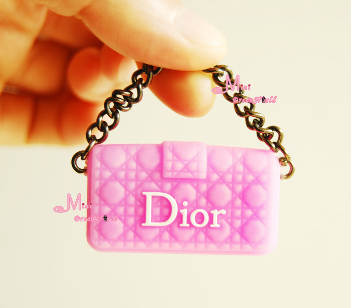1/6 Scale Dollhouse Miniature Metal Chain Plastic Pink