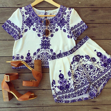 National style summer suits Women Retro Vintage Tile Prints Blue White Porcelain Pattern Short Sleeve Crop