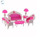 XFC Cartoon Girl Kids Toys Dollhouse Doll Vintage Sofa Chair Couch Desk Lamp Furniture Set Disassembled