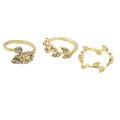 2016 New Fashion 3pcs Set Unique Style Gold Plated Stacking Knuckle Rings Cute Leaf Ring Set
