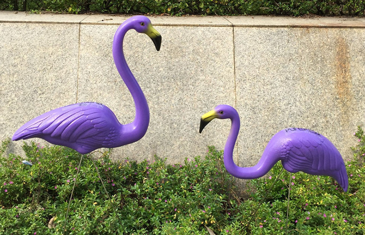 1pair plastic Purple flamingo garden,yard and lawn art ...