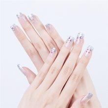 24 шт., накладные ногти, короткие, отражающие, стильные, белые, розовые, для дизайна ногтей, акриловые, с дизайнерским дисплеем, для дизайна ног...(Китай)