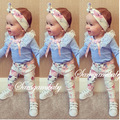 2016 ins baby girl clothing set long sleeve lace T shirt pants headband 3pcs Infant bebe