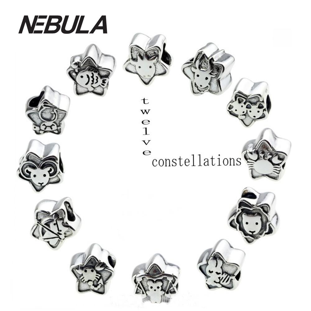 66401066c ... norway wholesale 12 constellation 925 sterling silver charm bead fits  pandora european bracelet aries bb448 cf4a0 canada pandora zodiac ...