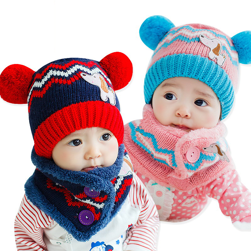 Winter Baby Hat Scarf Set Dog Style Woolen Cap Muffler For Infant