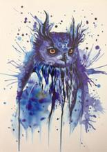 2016 Hot SALE 21 X 15 CM coruja azul Sexy Cool beleza tatuagem à prova d ' água Hot tatuagem temporária adesivos # 40