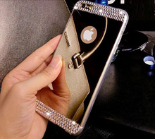 """Luxury Rhinestone Diamond Mirror TPU Soft Gel Bling Case Cover For Apple iPhone 5 5s 6 4.7"""" 6 plus 5.5"""" Case Back Cover"""