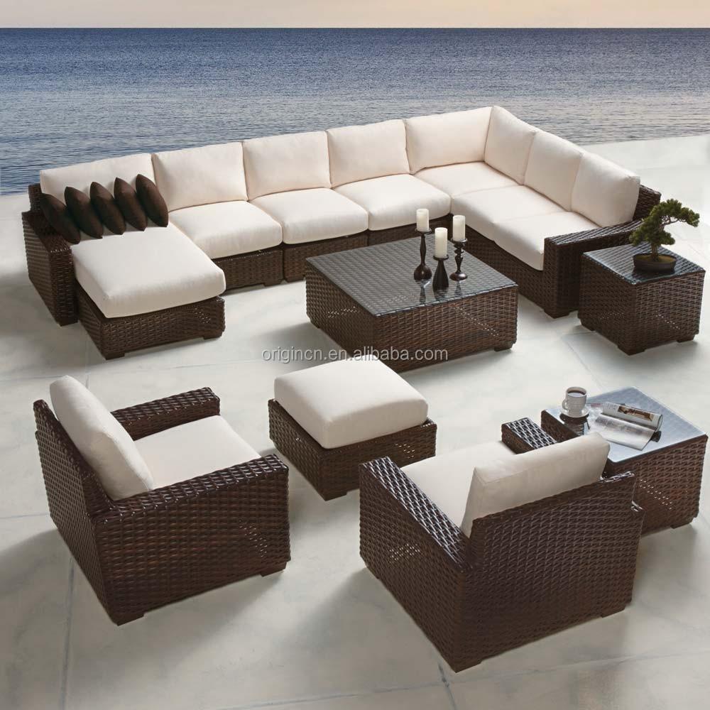 Nova Chegada Grande 10 Lugares Sofa Grupo Com Chaise Em Vime