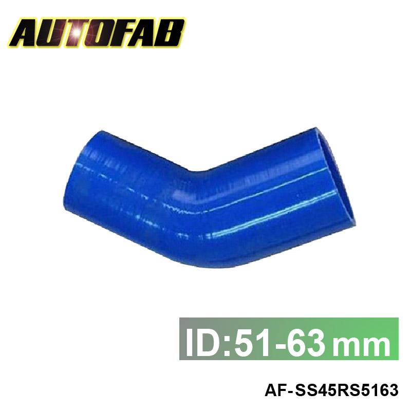 Autofab - универсальный 63 мм до 51 мм силиконовые 45 град. разъем редуктор локоть муфта силикон / силиконовые шланг AF-SS45RS5163