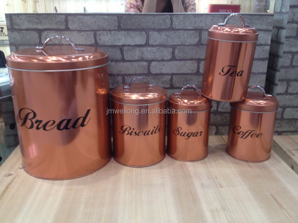 Set Of 5 Rose Gold Metal Bread Bin Sugar Coffee Tea Biscuits Storage Canisters View Metal Canister Weilong Product Details From Jiangmen Weilong
