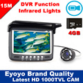 Newest Updated Eyoyo 15M Fish Finder Underwater 1000TVL Ice Fishing VIdeo Recording Camera DVR 8 infrared