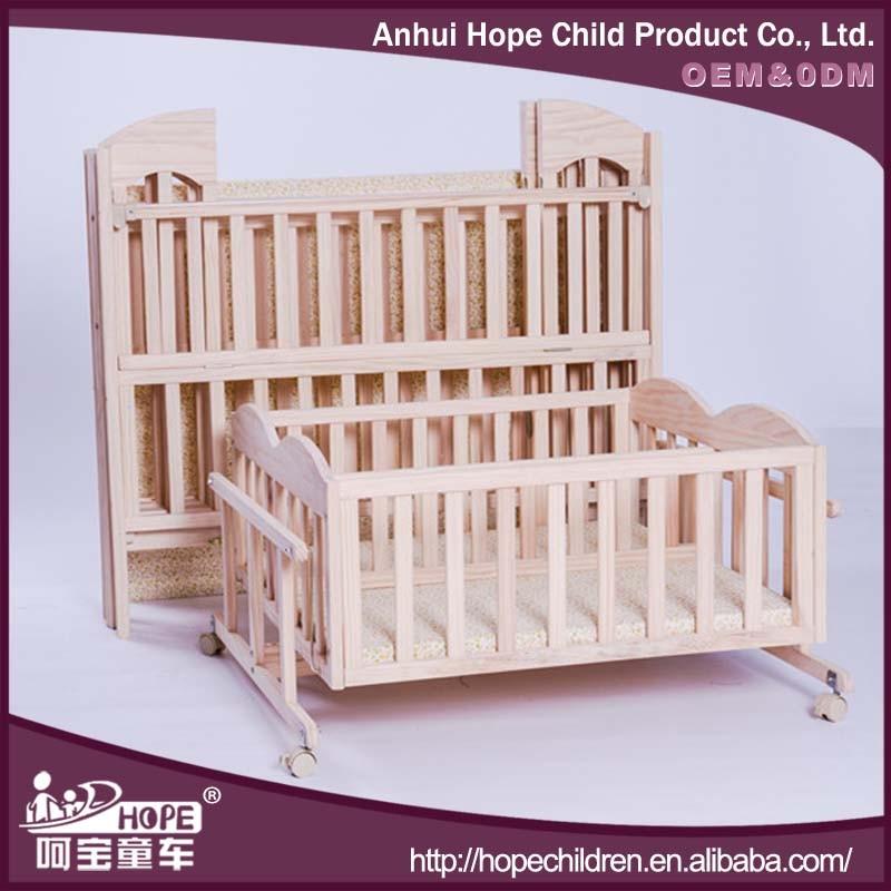 en bonne sant en pin massif bois double lit pour b b jumeaux avec b b balan oire berceau lit. Black Bedroom Furniture Sets. Home Design Ideas
