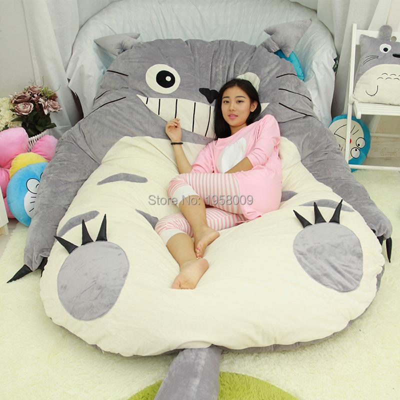 Plush Pillow Top Mattress Pad 200cm X 160cm Giant Anime Totoro Beanbag Plush Bed Carpet ...