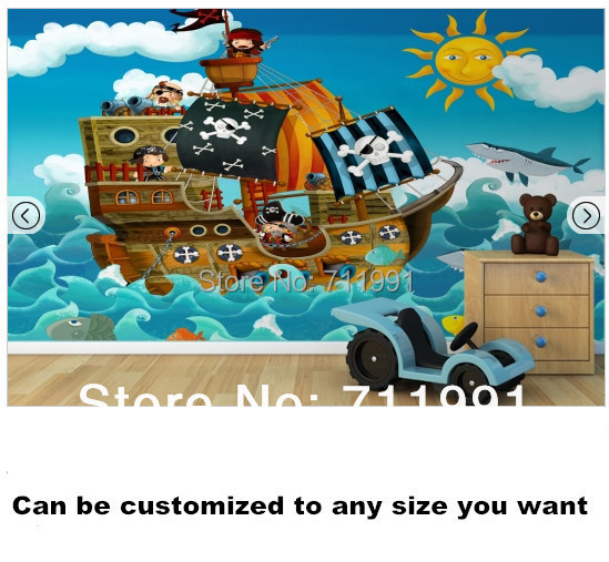 2015 top fashion sale photo wallpaper papier peint free shipping custom pirate ship wall mural. Black Bedroom Furniture Sets. Home Design Ideas