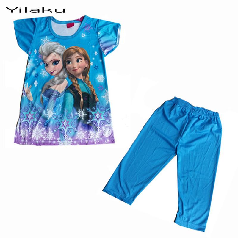 Children Cartoon Pajamas Sets Girls Summer Pyjamas Kids Short Sleeve Pijamas Elsa Anna Baby Girl Sleepwear
