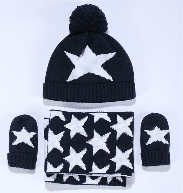 b5e31f0bc70 2019 Boys Knitted Hat Scarf And Glove Set Children New 2016 Winter Fashion  Kids Boy Navy Blue Star Print Sets Christmas Gift From Mic518