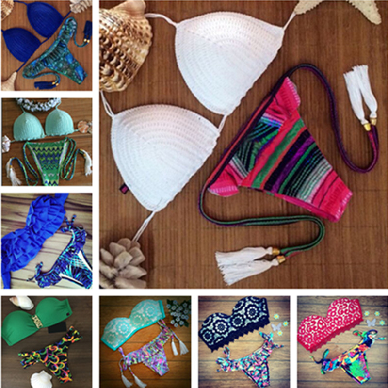 11 Style Push Up Brazilian Bikini Sets Sexy Halter Retro Crochet Bikini Floral Swimsuit Swimwear Biquine