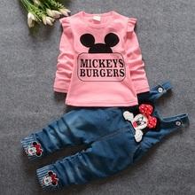 2016 Spring Baby Girls MICKEYS BURGERS Clothing Sets Cute Cartoon Animal Print Infant T Shirt Bibs