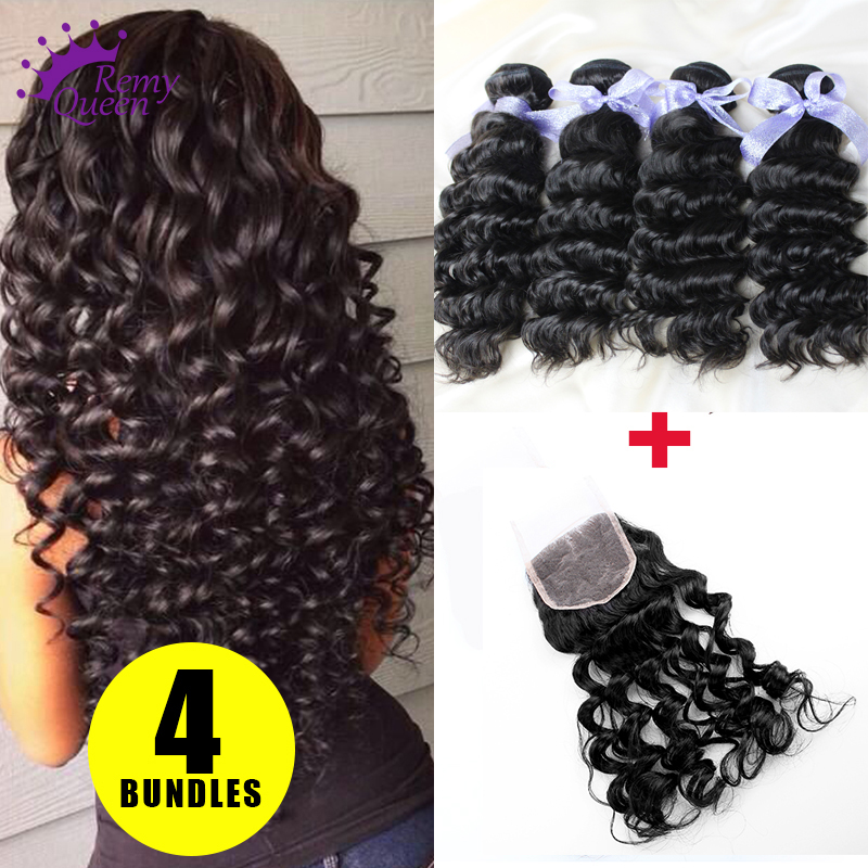 Virgin Peruvian Hair Deep Wave Lace Closure with 4 Bundles Hair Weaves Unprocessed Human Hair Extensions