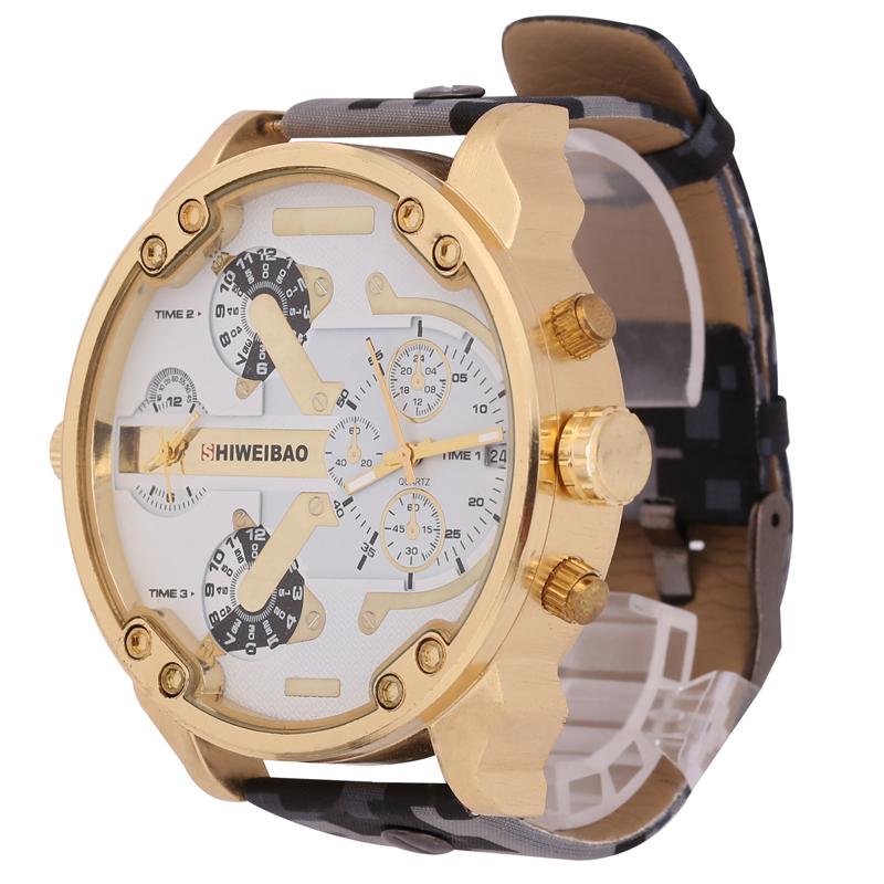 b379f3918bd Compre Venta Caliente Big Case Style Watch Hombres Correa De Cuero ...