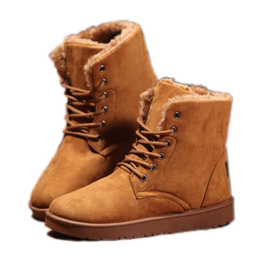 2015 Winter Men Snow Boots Fashion Round Toe Fur Boots
