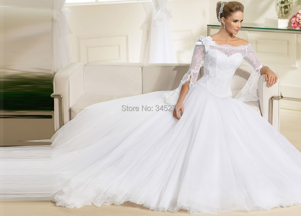 Plus Size Wedding Gowns With Sleeves: Custom Made Scalloped Neckline Tulle Bell Types Floor