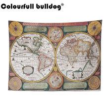 Винтажная карта мира 3D печать ткань геометрический красочный компас настенный гобелен Ретро пляж картина маслом полотенца украшения дома(Китай)