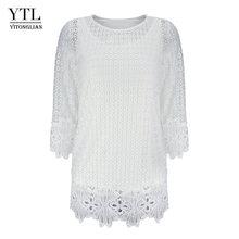 YTL Женские Летние Осенние кружевные топы из двух частей, белые вязаные крючком элегантные женские блузки 5XL 6XL 7XL блузка рубашка H249(Китай)