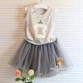 2016 summer 100 cotton girl lace clothes dress Baby girl clothing sets children kids clothes skirt