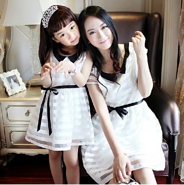 A6005 семья лето черный ткань в полоску органза один частей платье одежда для матери и дочери с ремень