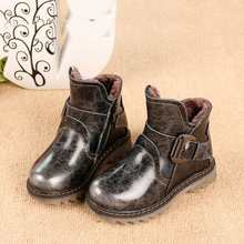 2016 New Arrival Genuine Leather Children snow boots cotton padded Shoes Children Warm Shoes Boys Girls