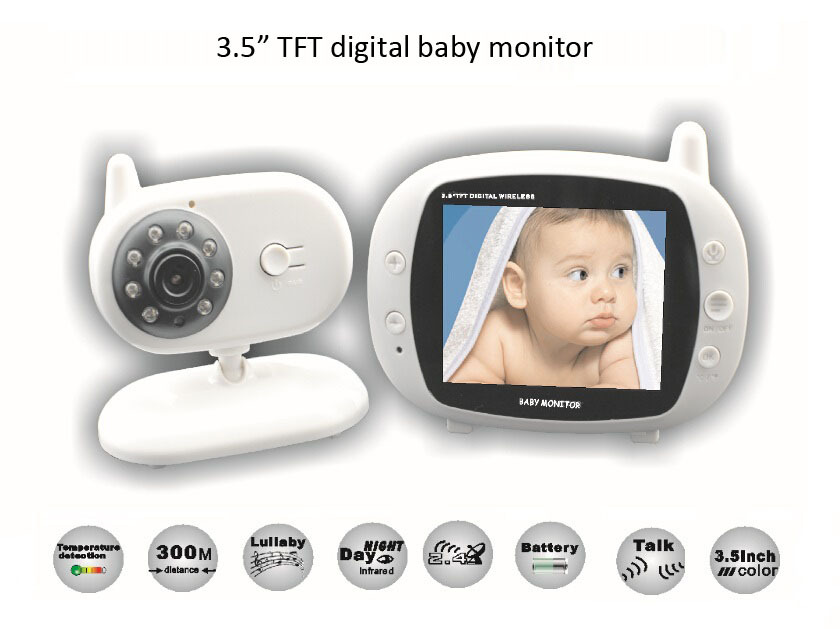 3.5 inch Wireless Audio Video Baby Monitor Security Camera 2 Way Talk Nigh