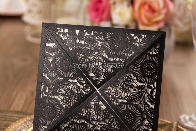 Affordable Laser Cut Wedding Invitations: Wholesale Affordable Pearl White/Gold/Black Floral Laser