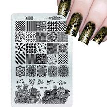 NEW 2016 Glitter Square Stamping Plates Nail Art Stencils Templates DIY Salon Polish Decor for Manicure