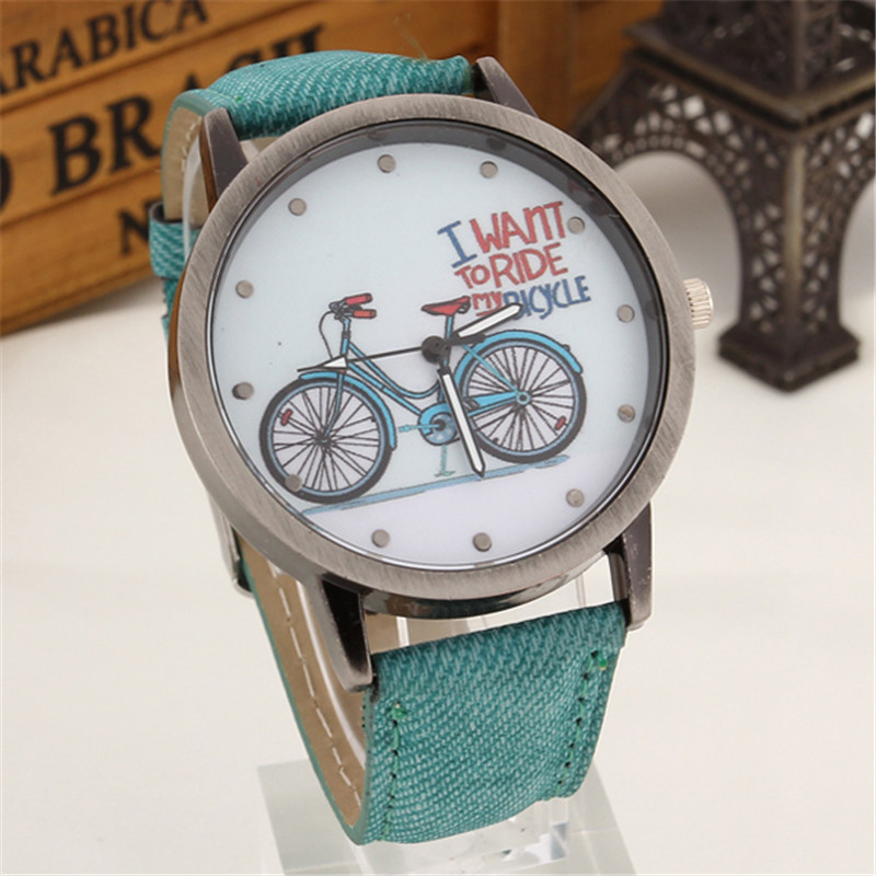 2016 Fashion Casual Bronze Dial Vintage Leather Wristwatches Bicycle Pattern Quartz Cartoon Watch Women gifts Woman Kids Clock