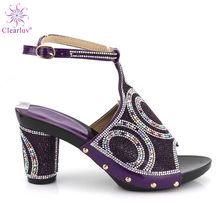 2019 Новый Фиолетовый Цвет африканские туфли Летняя обувь на высоком каблуке Женская Свадебная обувь Стразы элегантная женская летняя обувь ...(Китай)