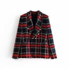 Женский твидовый пиджак с карманами, винтажный двубортный потертый пиджак в клетку, повседневная верхняя одежда, 2020(Китай)