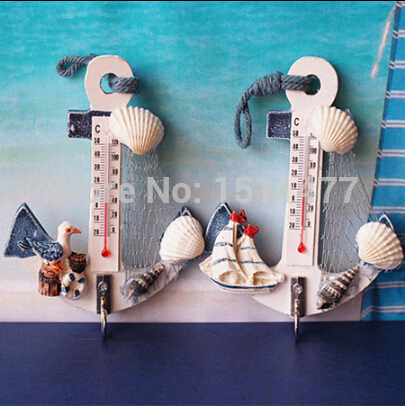 European Mediterranean Country Style Wooden Anchor Thermometer Small Hanging Hooks Handicrafts Marine style <font><b>Home</b></font> <font><b>Decorations</b></font>