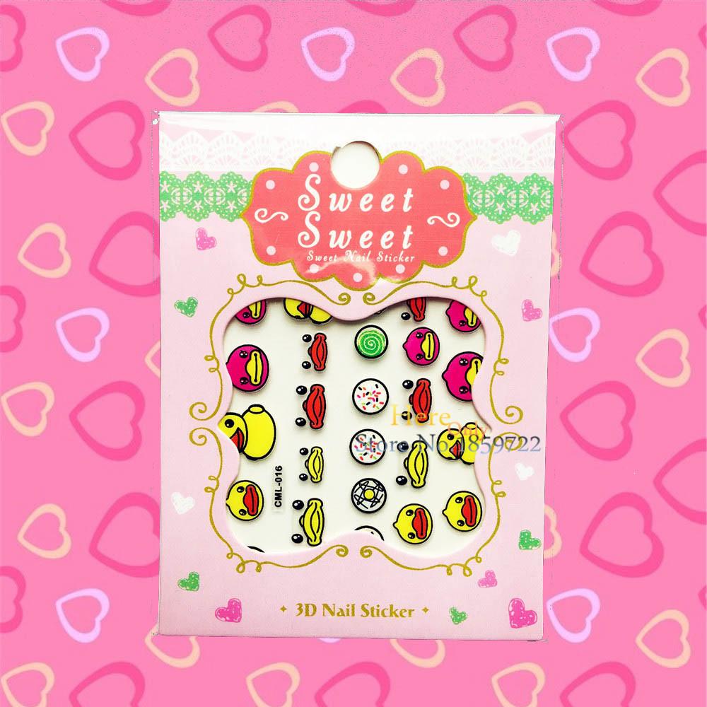 1PC 3D Diy Yellow Little Dark Designs Cartoon Nail Stickers HCML 016 Water Transfer Children Nail