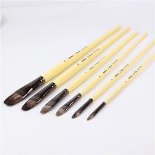 6pcs Set high grade weasel hair Row of pens tongue peak Paint Brush Acrylic Oil Painting